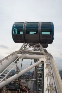This is at the top of the arch - you see the pods are actually rotating on the outside of the wheel.  Don't worry - it is actually quite safe and you don't even feel it moving.