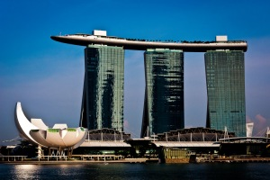 The imposing Marina Bay Sands Hotel & Casino - dominates the Singapore Skyline and is visible from almost every spot in the city.