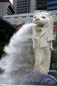 The other famous Singapore landmark - the Merlion.  Located in front of the Fullerton Hotel, and on the banks of the Singapore Harbour it is a lovely sight - and one you will see replicated on nearly every possible souvenir throughout the city.