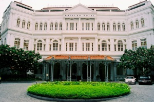 Hasn't changed much in well over 100 years.  The famous Singapore icon that is the Raffles Hotel.  Rooms can be upwards of $1,500 a night - but free to look around!