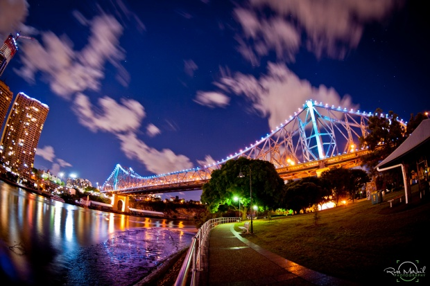 Brisbane City by night.  Photograph of the stunning Brisbane Story Bridge.  A heritage listed landmark in the centre of Brisbane city, opened in 1940.