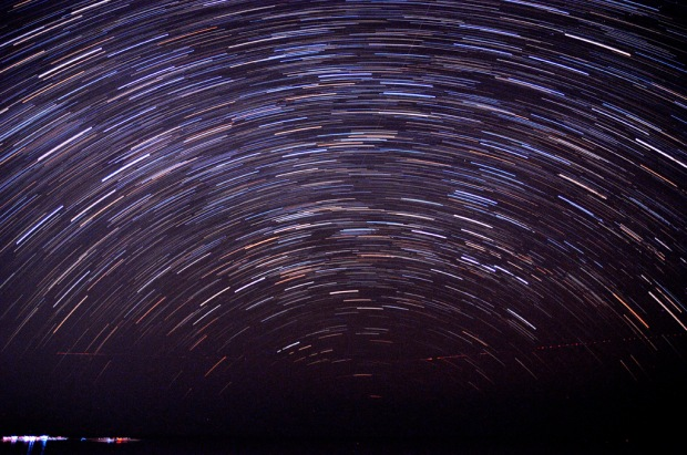 The final star trail.  This is 54 exposures stacked together into one image.  All told this represents about 27 minutes of star rotations.