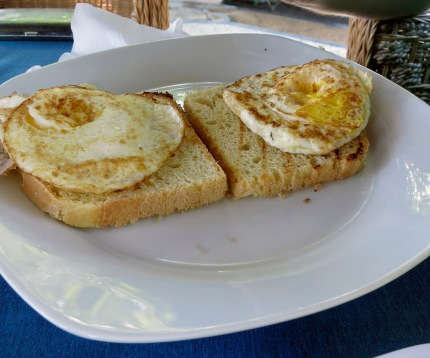 Eggs on Toast - I know it doesn't look much but it is very tasty.