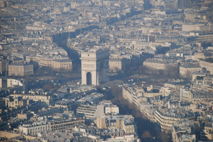 The magnificent Arc de Triomphe viewed from the Eiffel Tower.  These iconic images of Paris afford such a different feeling when viewed from this unique perspective.
