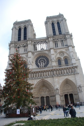 The gothic towers at the front of Notre-Dame Cathedral.  Stunning architecture and a truly inspirational location.