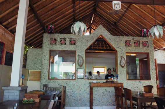 The lovely Warung Enak, the kitchen is behind the wall and somewhat open with all the windows.  Everything was cooked fresh to order.