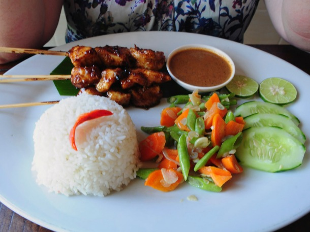Chicken Satay with Rice and a salad.  Nice tasty Satay Sauce.