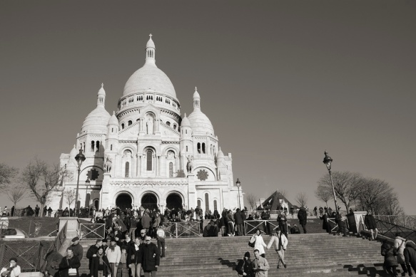 Sitting atop Montmartre the stunning Basilica offers a stunning view of Paris below.