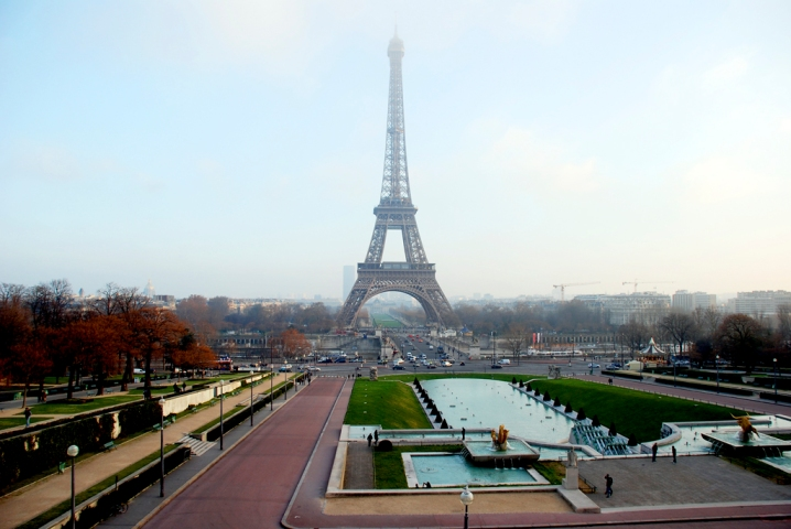 The view of the tower from Jardins du Trocadero