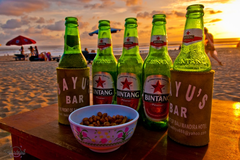 Nothing helps the Sunset like a couple of cold Bintangs' and some Bali Peanuts.