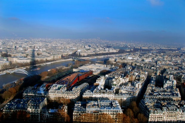"Paris - a ""small"" city in France.  No better way to take in the scale of the city and the density of the buildings than on the viewing deck of the Eiffel Tower."