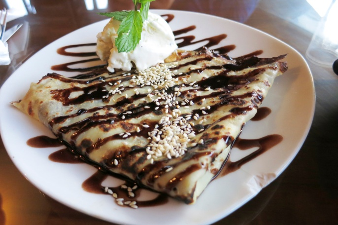 The delightful Chocolate Crepe, I figure we deserve a little treat, haven't had many decadent desserts lately....