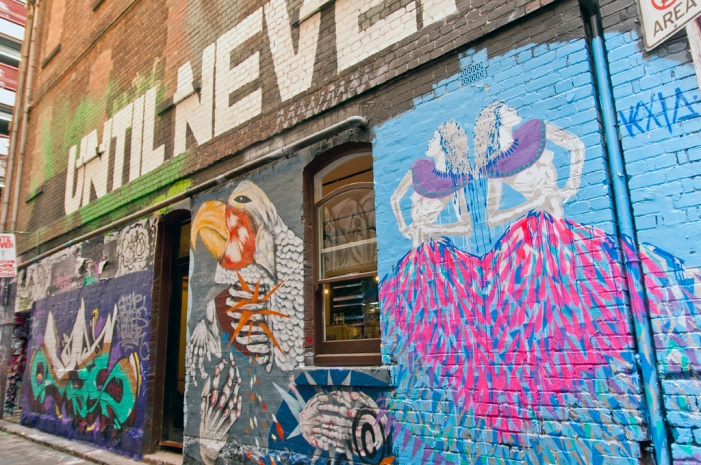 Melbourne's Laneways offer visitors an ever changing art gallery of street art.