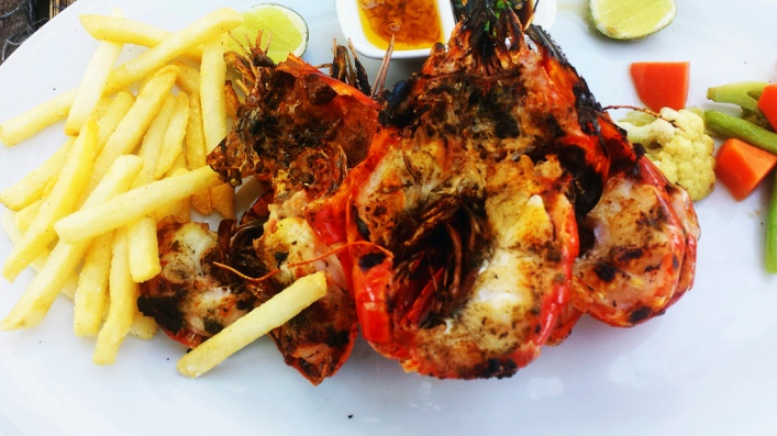 The Garlic Grilled Prawns - Order by weight desired.  Always good sized plenty to eat.