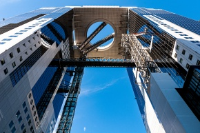 Umeda Sky Building viewed from the ground looking up